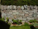 Drystone garden wall; handpicked quarry stone