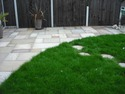 3 Level Garden Build at Bolton. After. This is Level 3 Bundi coloured paving and new turf with stepping stones.