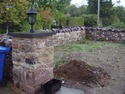 Reclaimed barn stone pillar & drystone wall