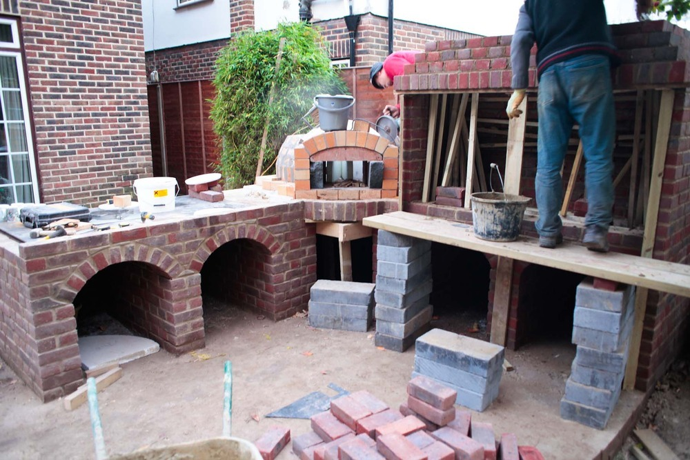 Outdoor Brick Built Fireplace Bbq With Chimney