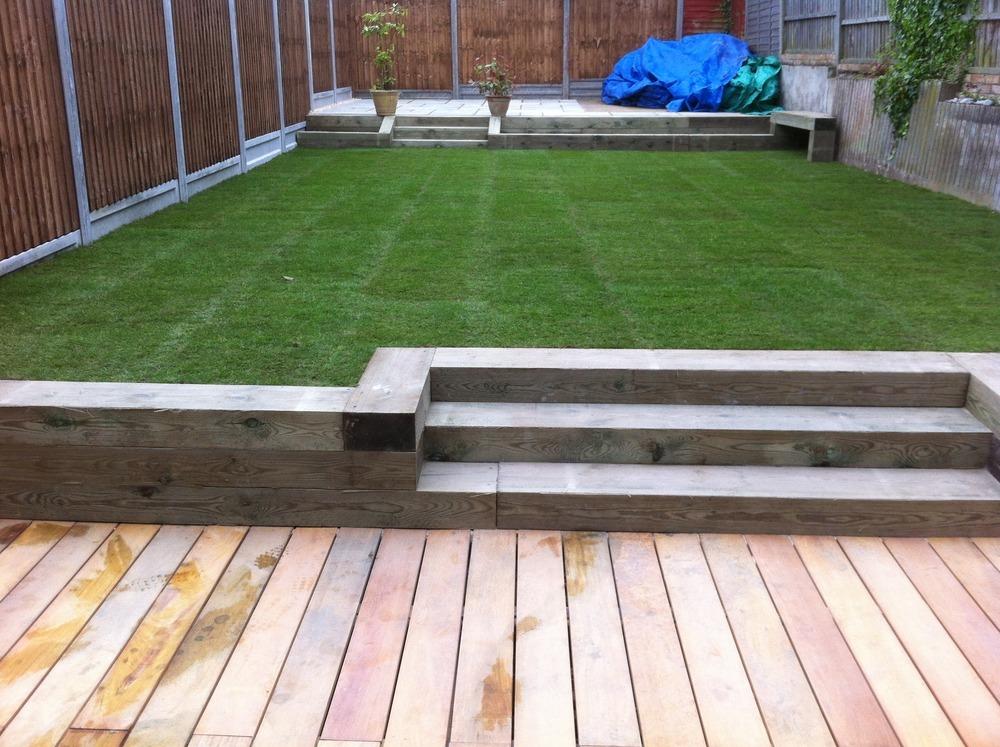 Stac landscaping 99 feedback landscape gardener for Garden decking sleepers