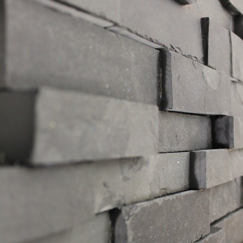 Tile Chimney Breast With Stepped Slate Mosaic Tiles