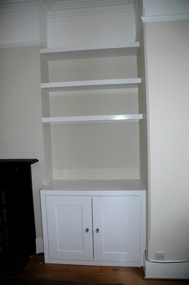 Alcove cupboard and floating shelves carpentry joinery job in northampton northamptonshire for 50cm kitchen cabinets