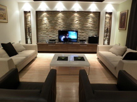 False Stud Wall Against Existing Wall For Recessed TV - Tv false wall