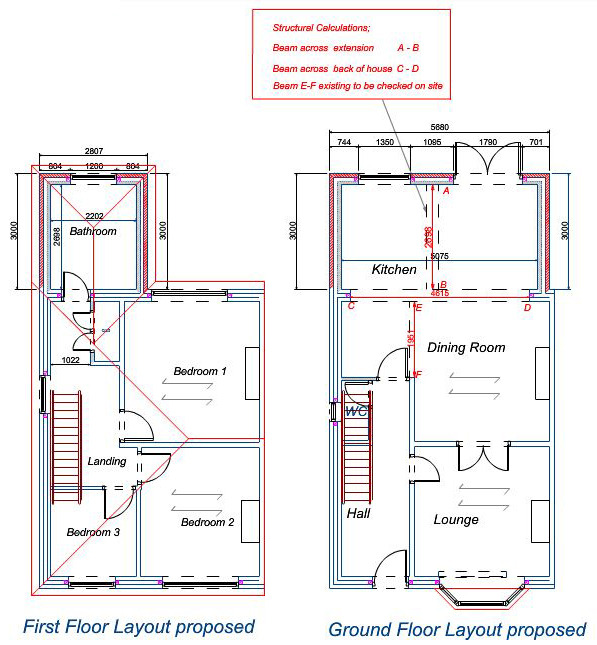 2 storey rear extension to 1930 39 s semi detached house for House extension drawings