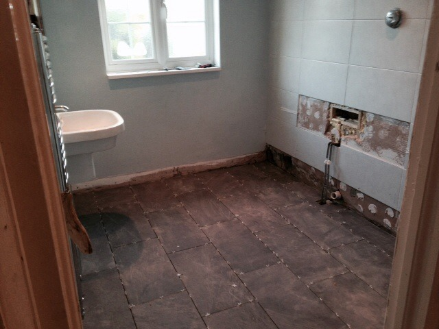 Retile bathroom wall tiling job in richmond surrey for How to retile a bathroom floor