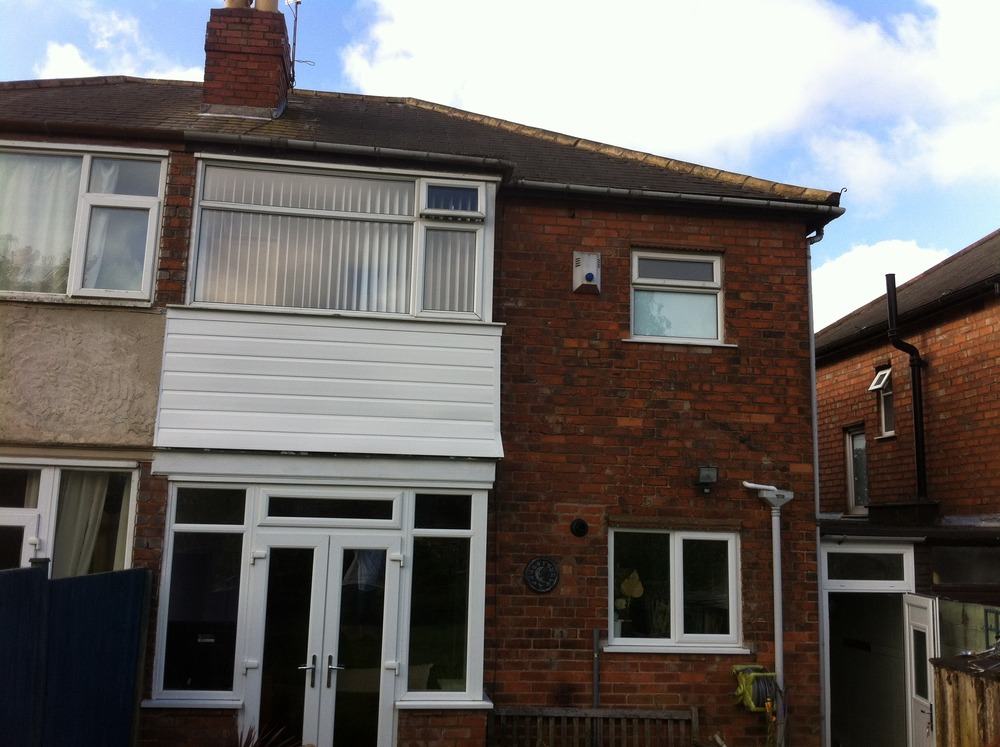 Replace main pitched roof + flat roof over bay window ...