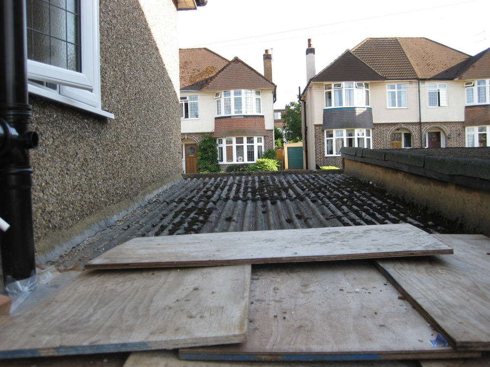 Replace 6x18ft Asbestos Cement Garage Flat Roof Roofing
