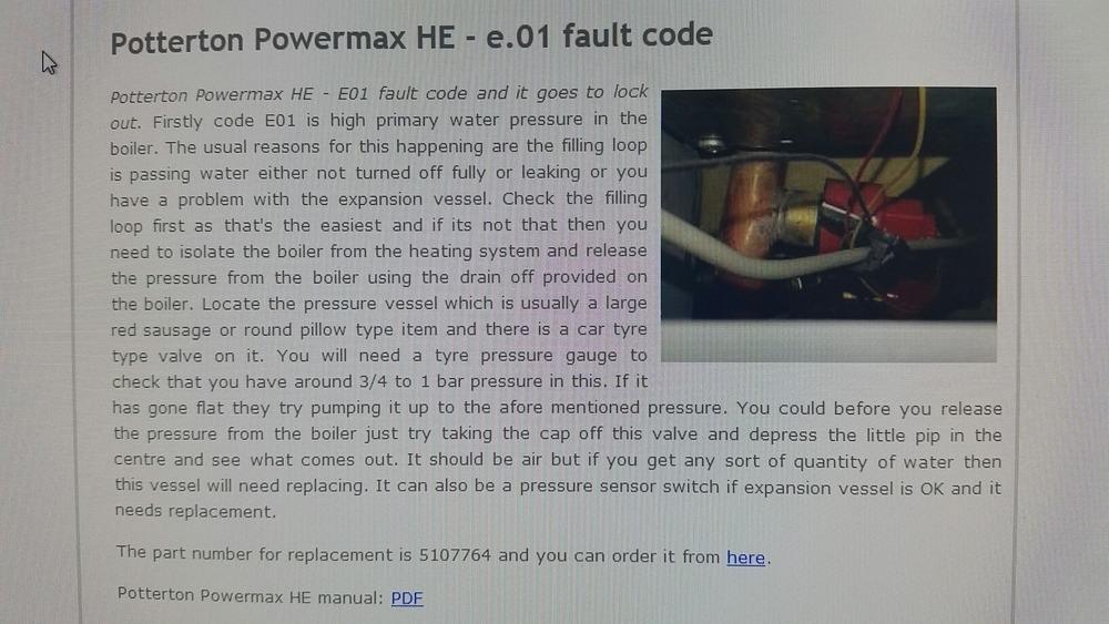 Potterton Powermax He E 01 Fault Code High Pressure