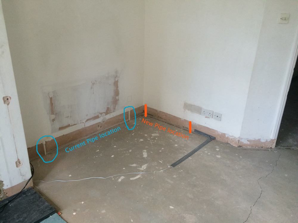 Move Radiator Pipes In Concrete Floor Plumbing Job In