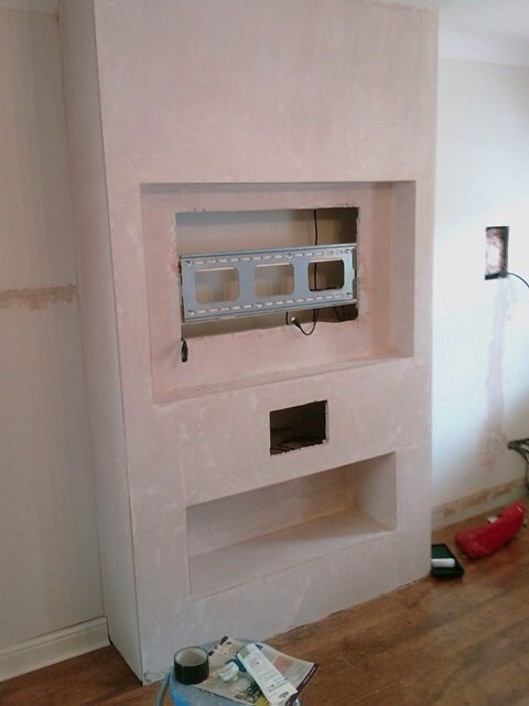 Build False Chimney For Recessed Tv And Other Works