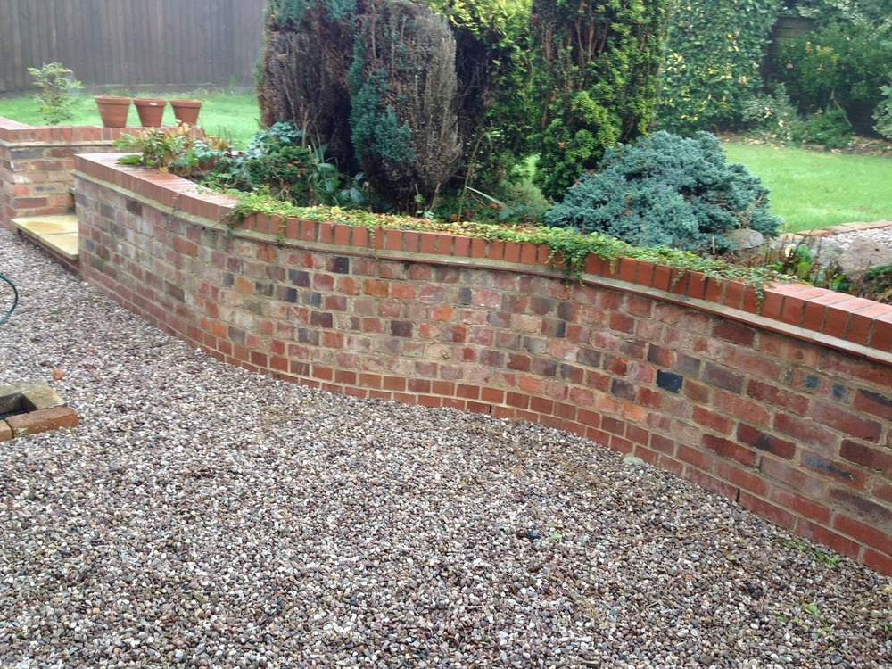 Create building and roofing 100 feedback bricklayer for House brick garden wall designs