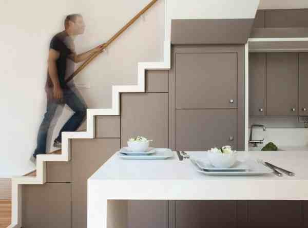Build Stairs And Fit Kitchen Under Small Space