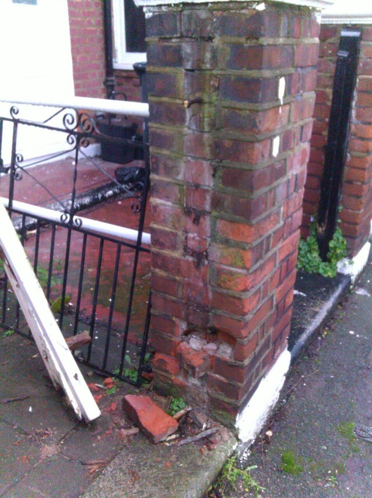 Repair To Brick Pillar Wall With Metal Gate Bricklaying