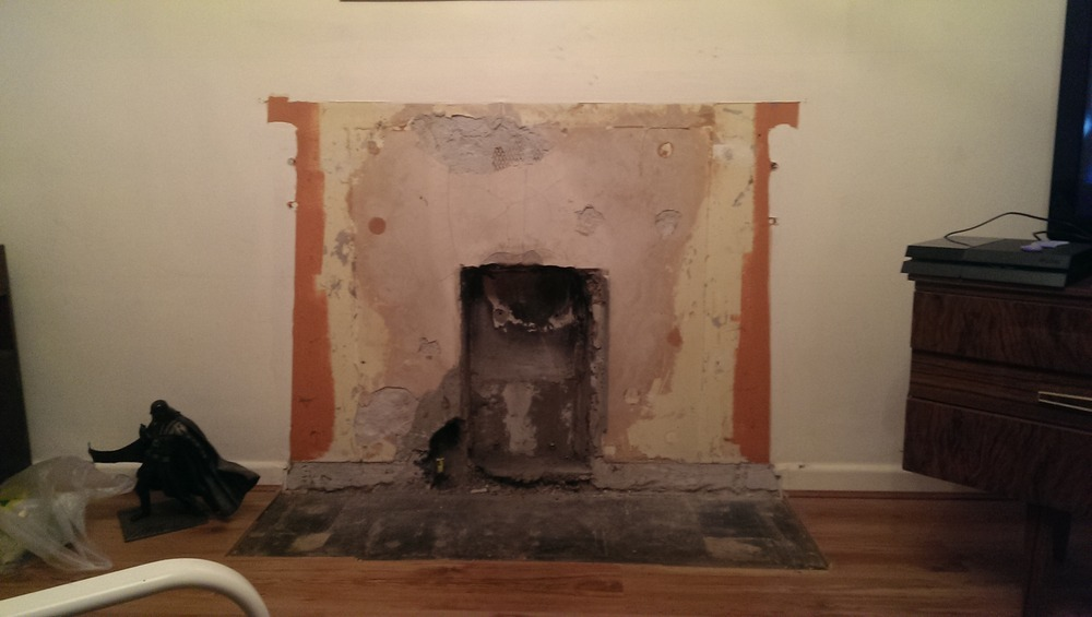 brick up and plaster where fireplace was - Plastering job in ...