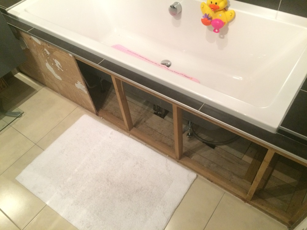 Board and Tile bath front, incorporating access panel - Tiling job ...