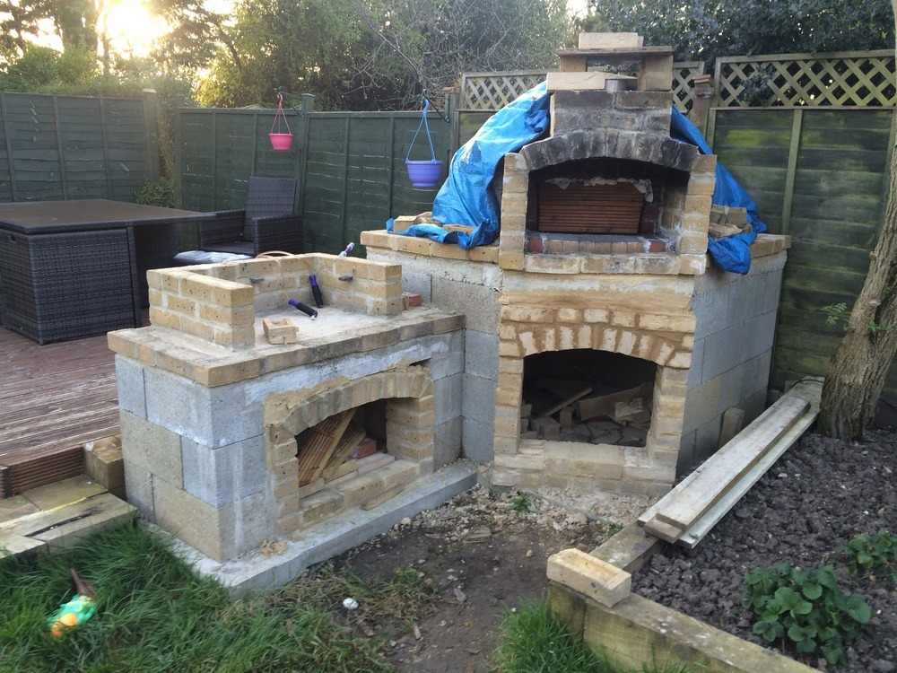 Outdoor Rendering Of Bbq And Pizza Oven Plastering Job