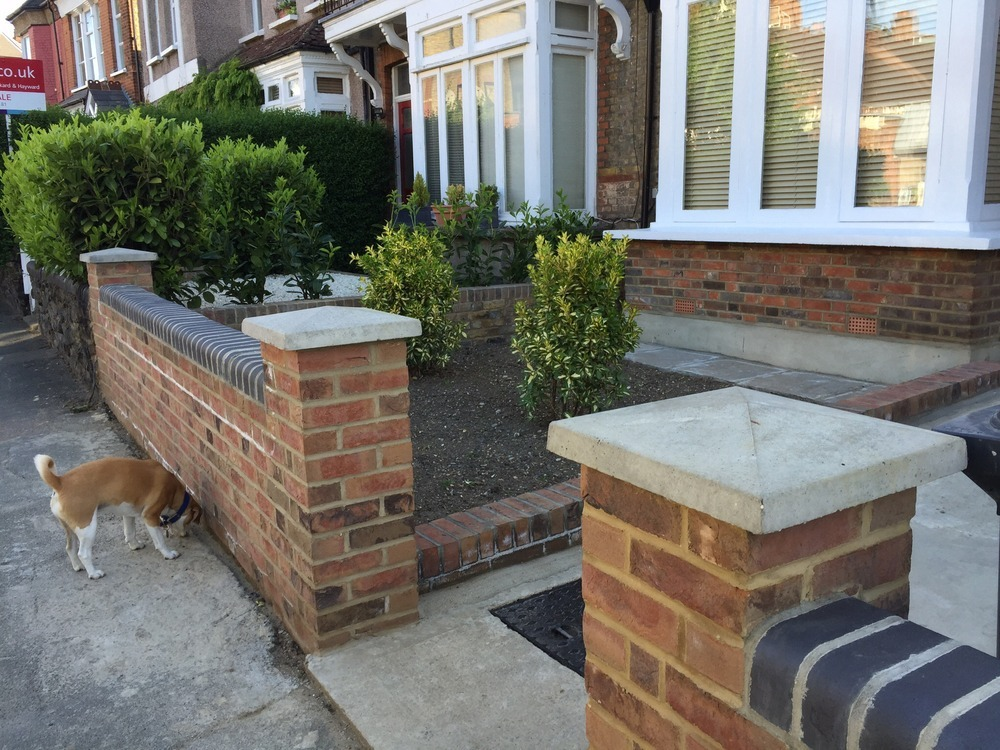 New front garden brick walls and coping Bricklaying job in