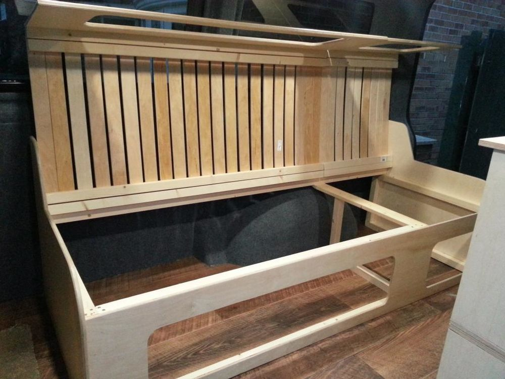 Wood Campervan Bed With Pullout Section Carpentry