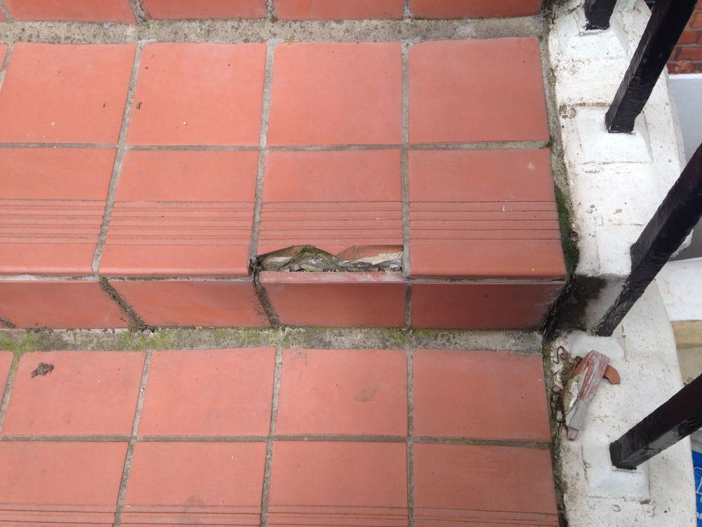 Replace Broken Tiles On Outdoor Steps Tiling Job In