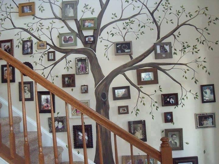 Painting a wall mural of a tree on wall by staircase for Stylische wohnung