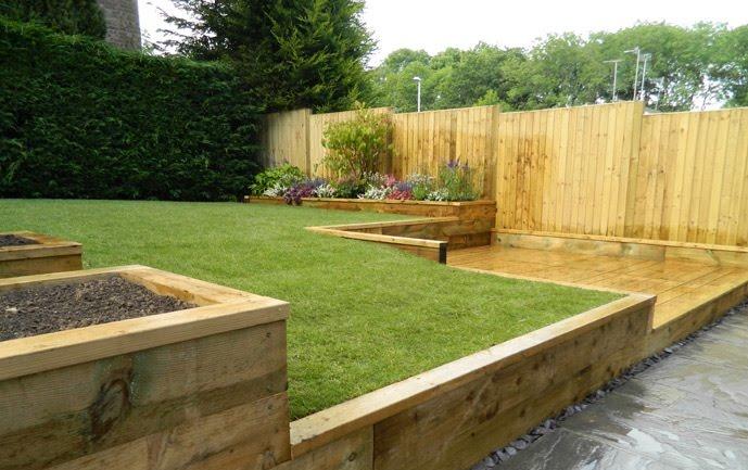 Rm landscapes design 94 feedback landscape gardener for Garden decking sleepers