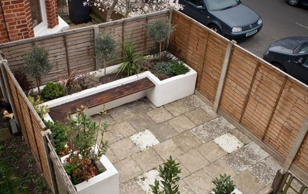 Garden decking with built in seating and planter bed for Garden decking seating