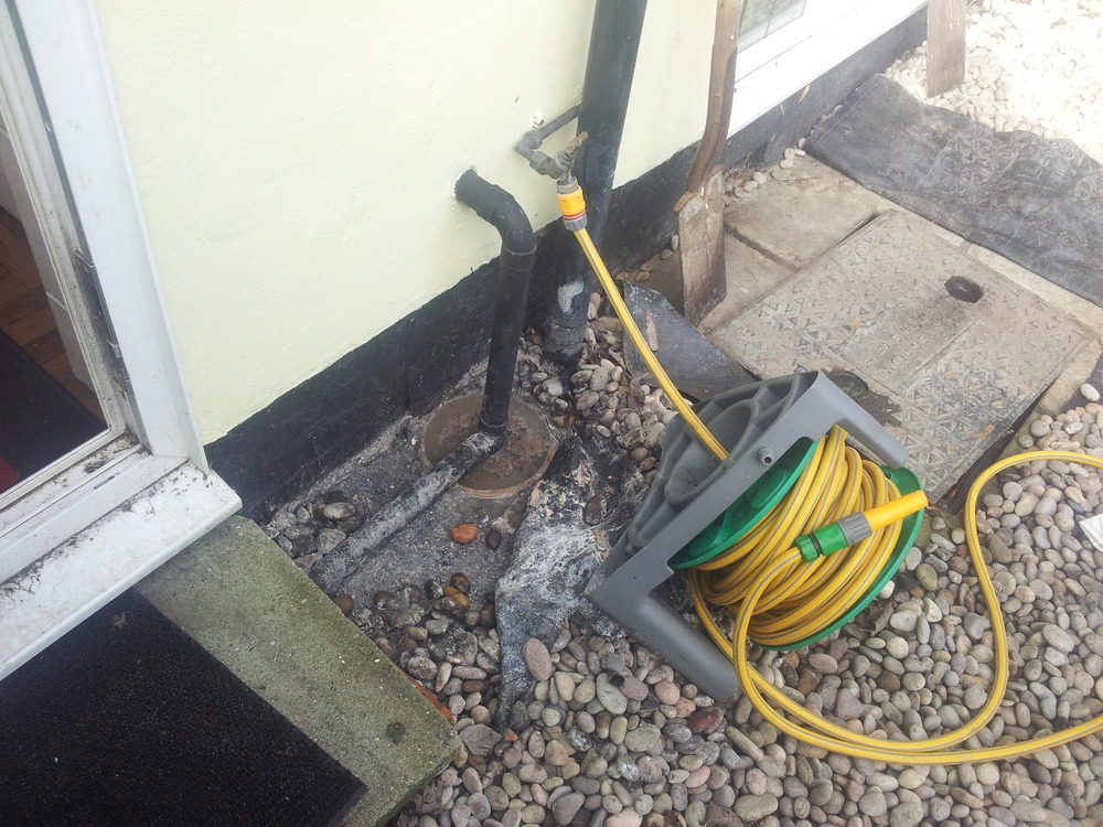 Blocked drain outside kitchen door plumbing job in for Kitchen drain clog