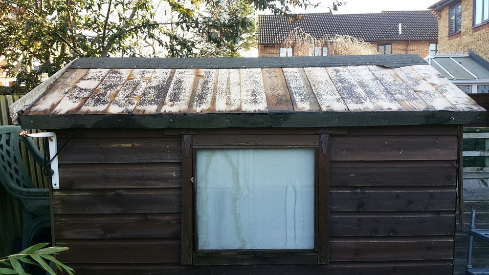 re felt shed roof roofing job in leighton buzzard. Black Bedroom Furniture Sets. Home Design Ideas