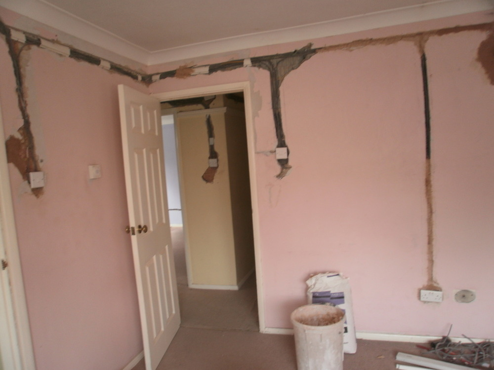 Skimming After Electric Rewire Plastering Job In