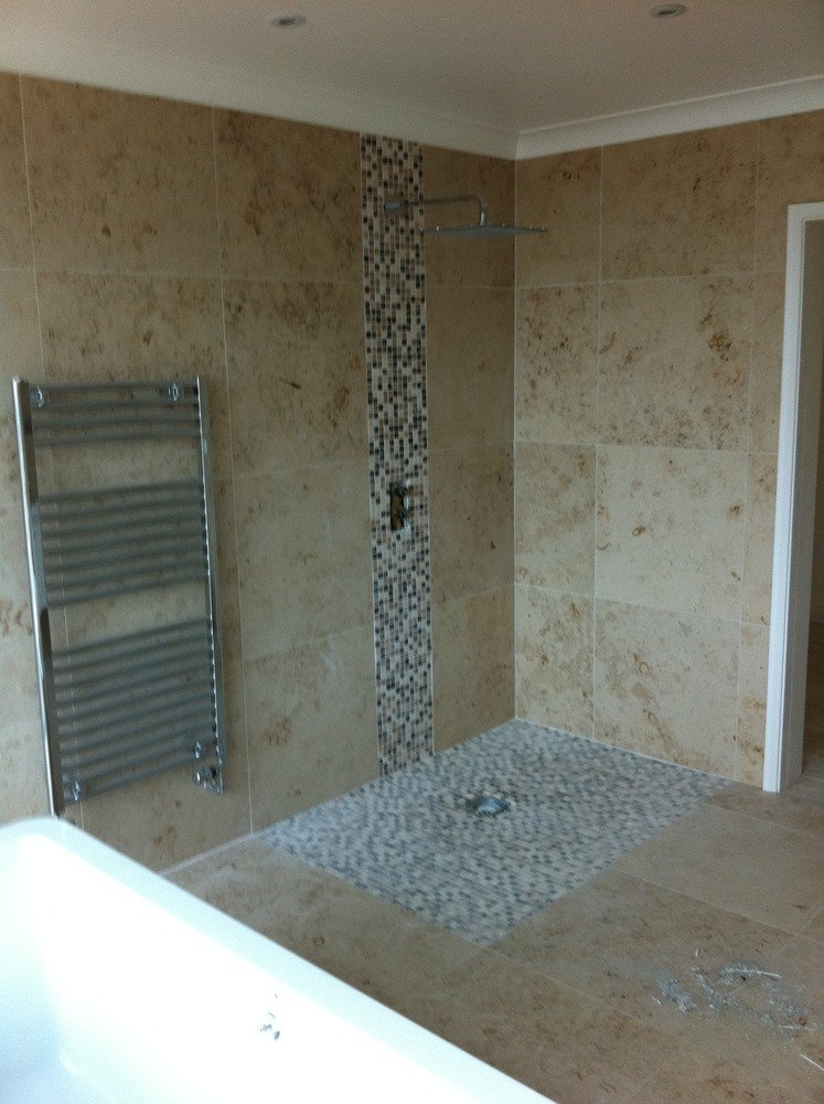 Mosaic floor tiles for wet room