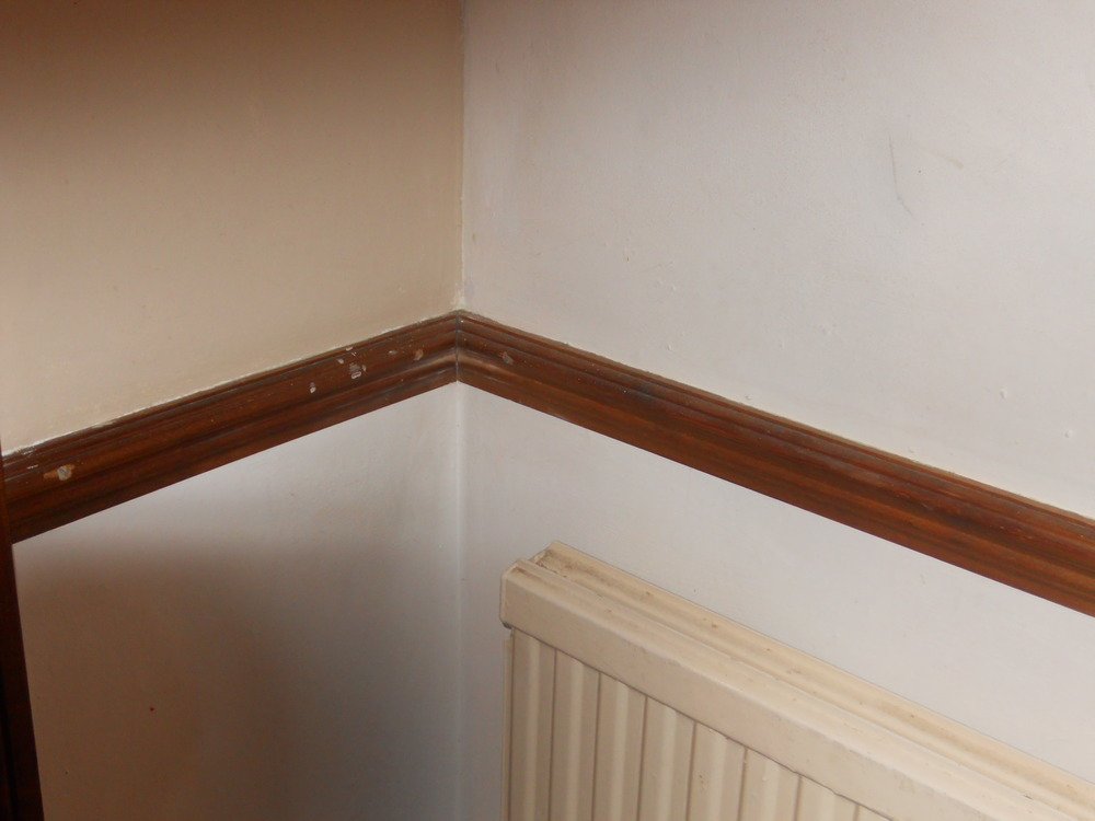 Decorations living room staircase hall painting decorating job in aylesbury for Decorating ideas for living room with dado rail