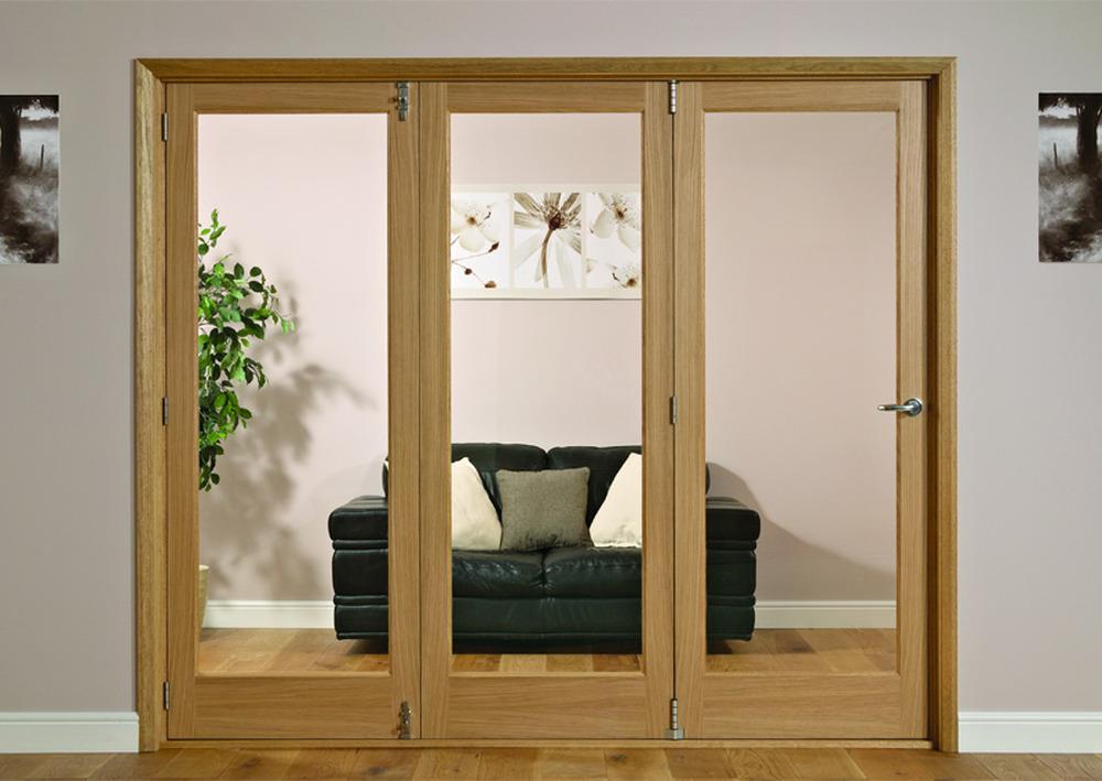 Varnish Shaker Glazed Tri Fold Doors Amp Frame 2m X 2 2m