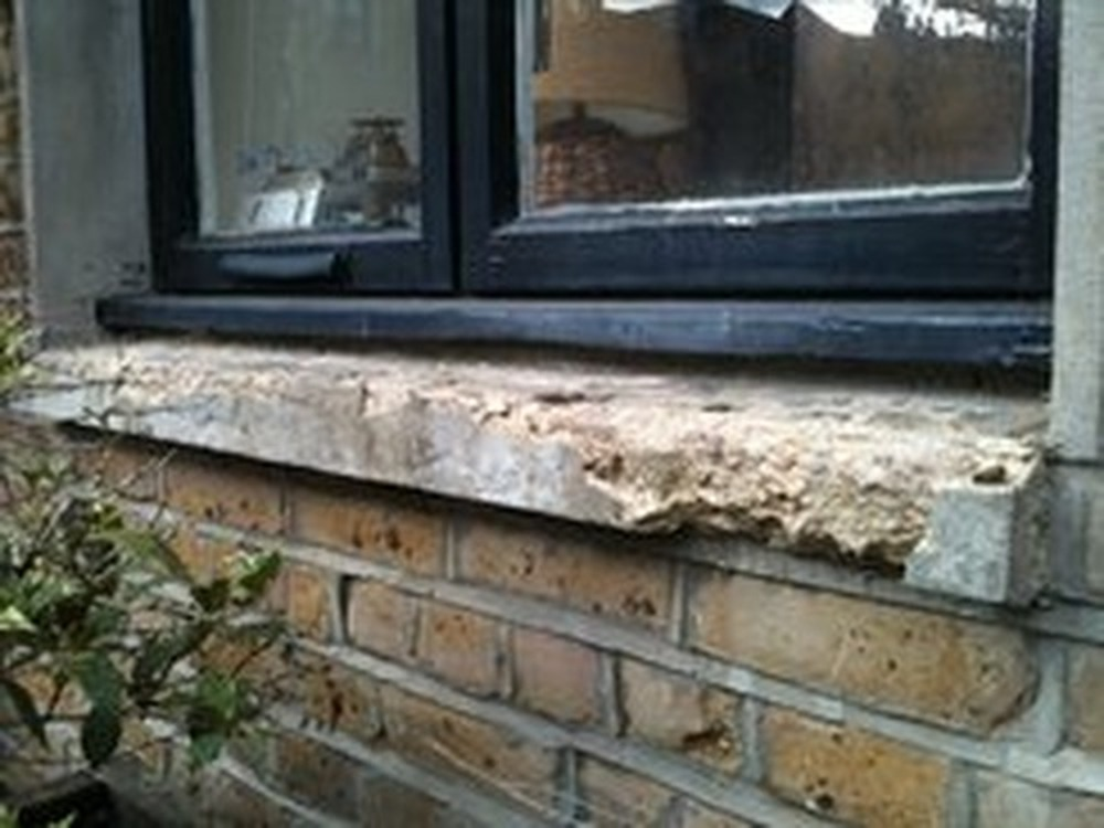 Replace 2 crumbled concrete exterior window sills stonemasonry job in highbury north london How to replace an exterior window