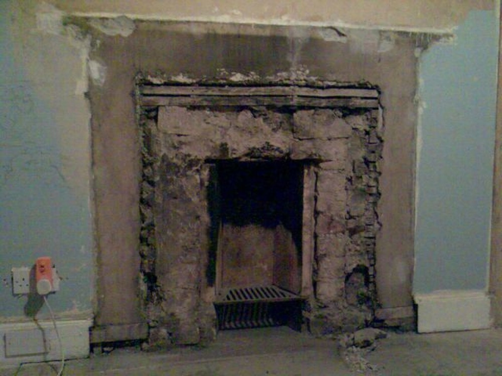 Reduce fireplace opening in back bedroom plastering job in photographs teraionfo
