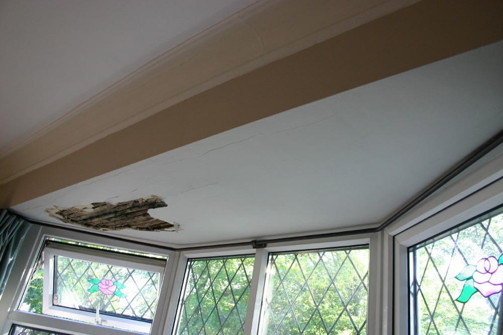 Repair Replaster Damaged Ceiling In Bay Window
