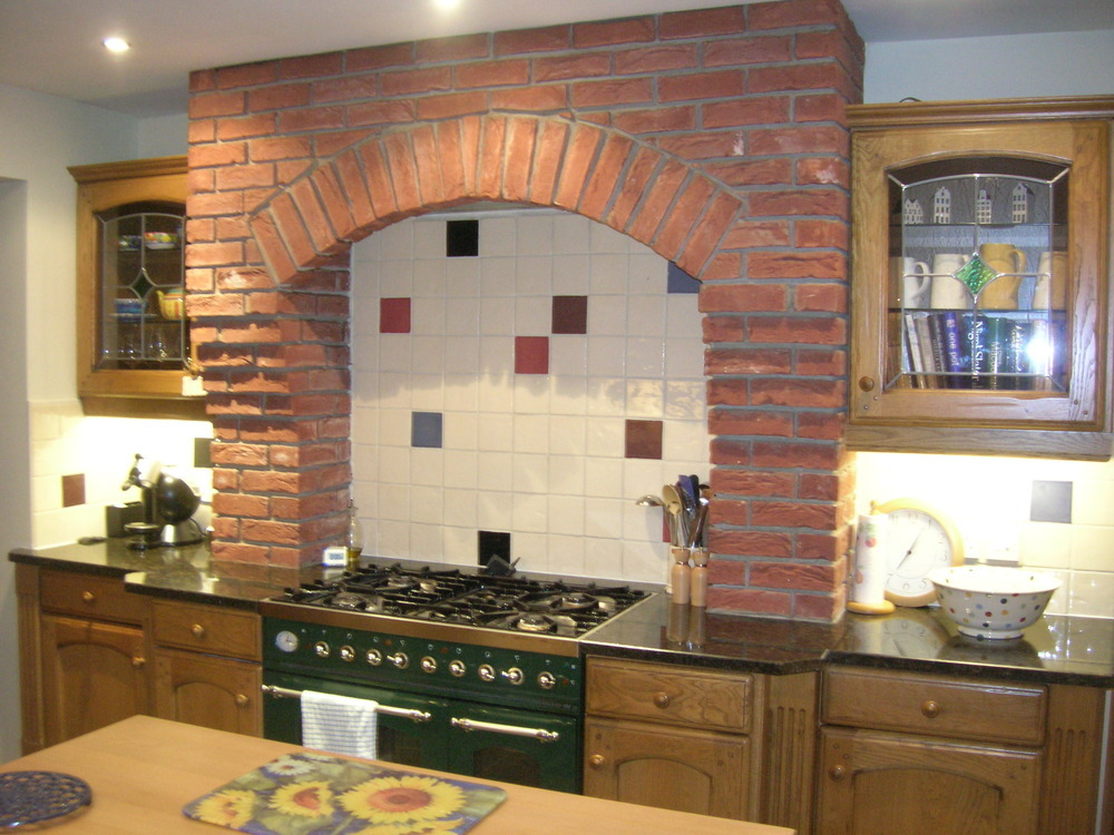 Remodel Decorative Brickwork Over Cooker Alcove Kitchen