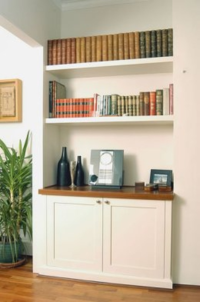 Alcove shelves dark : Cupboard and shelving alcove