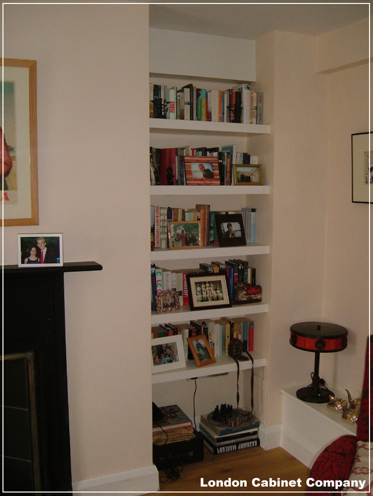 Shelving In Two Alcoves Either Side Of Chimney Breast