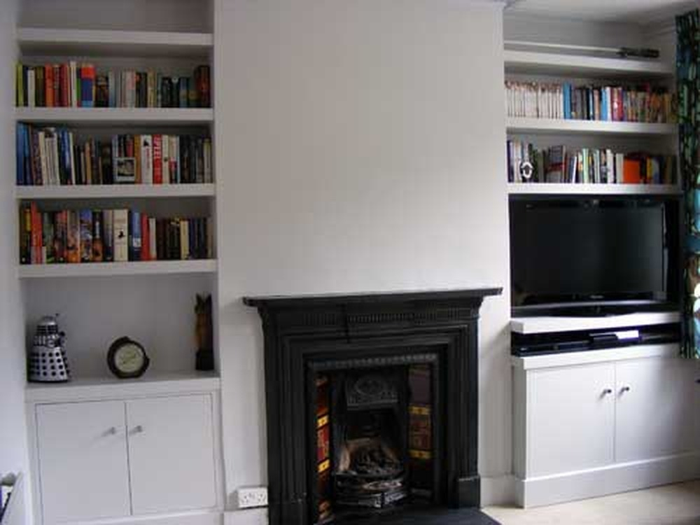 Built In Cabinet And Shelves In Alcove Carpentry