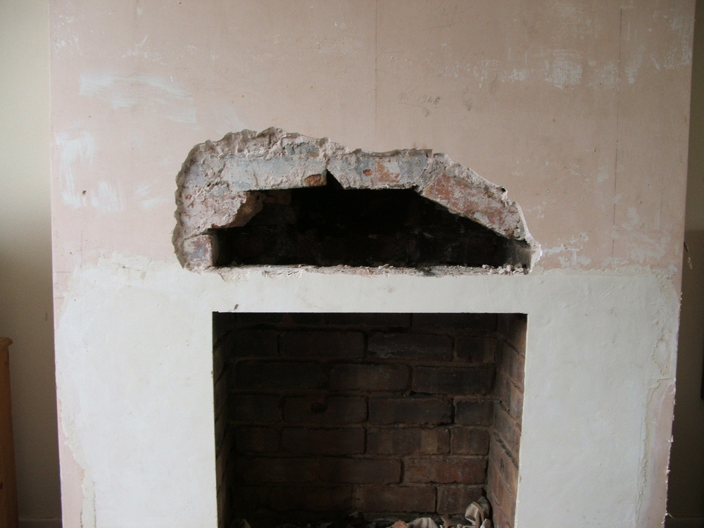 Install fireplace lintel and plaster chimney breast - Chimneys ...