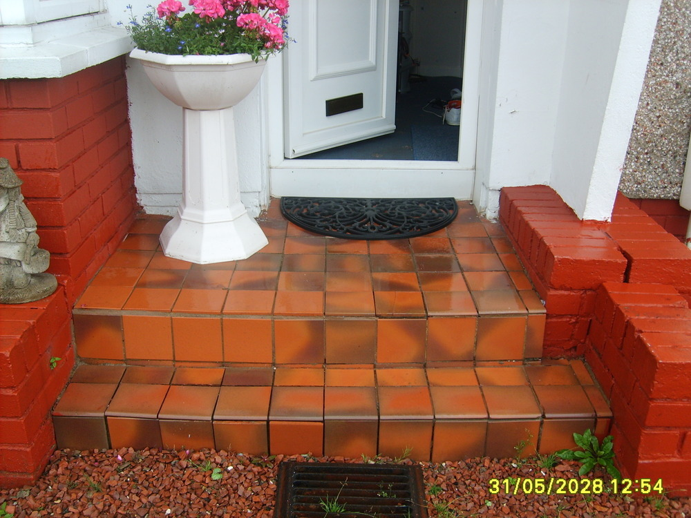 Relay Some Quarry Tiles On Door Step Tiling Job In