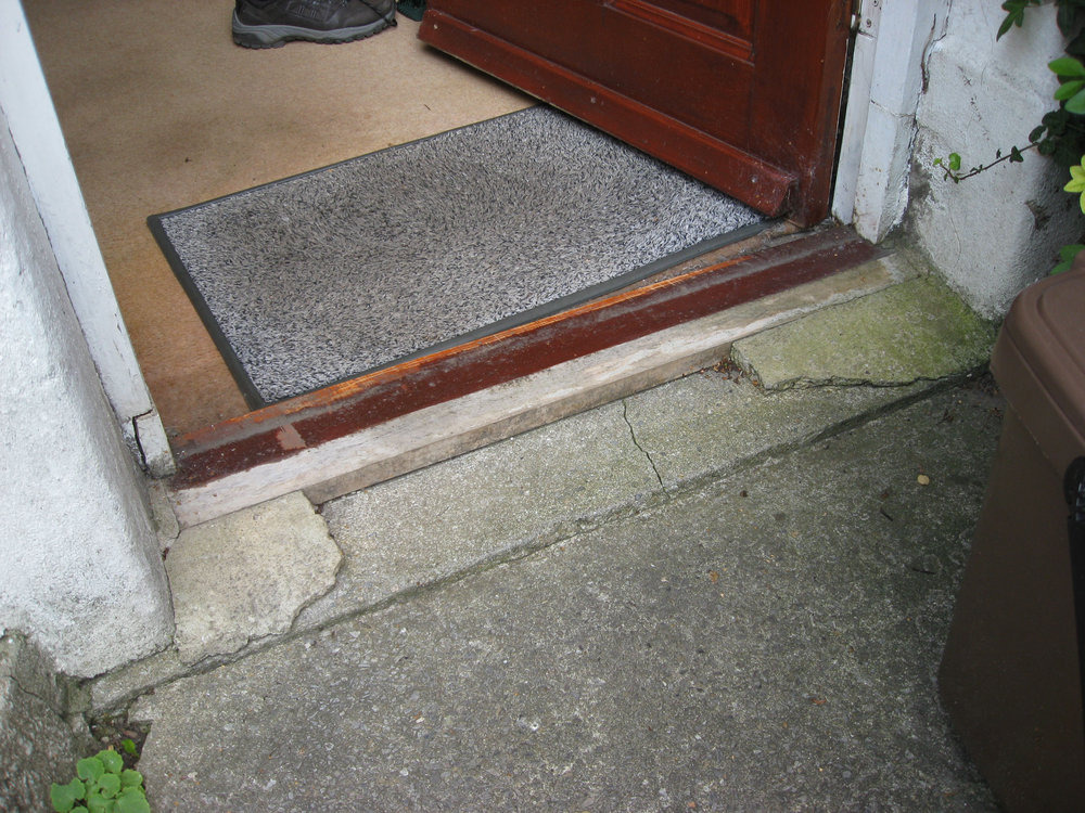 Repair replace front door threshold carpentry joinery job in cardiff south glamorgan for How to install a threshold for an exterior door