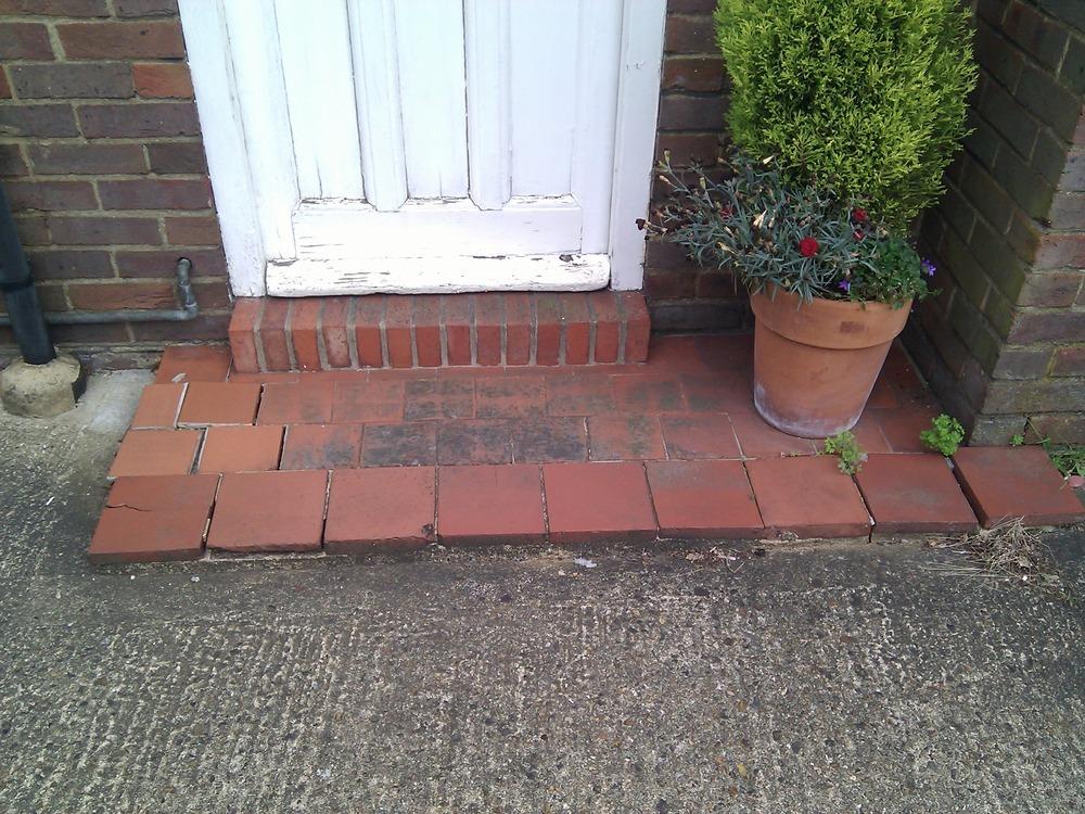 Front Door Step re-lay front door entry step - groundwork & foundations job in