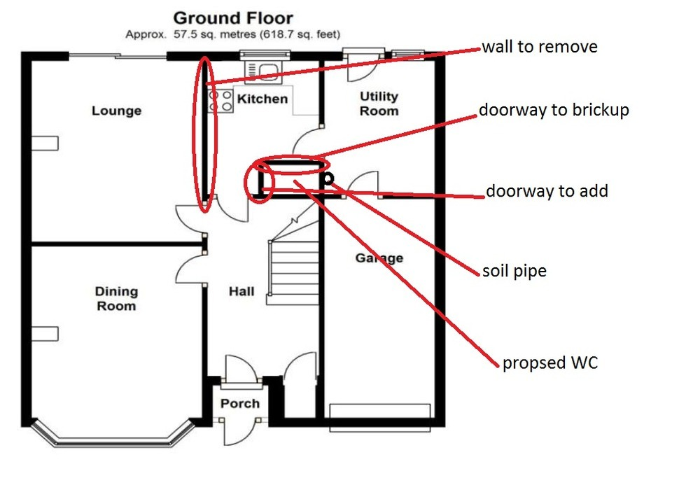 Drawings calculation to remove load bearing wall rsj for Can a load bearing wall be removed