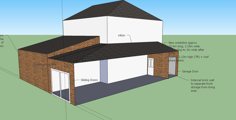 Single Storey Side Extension With Sloped Roof 10x2m