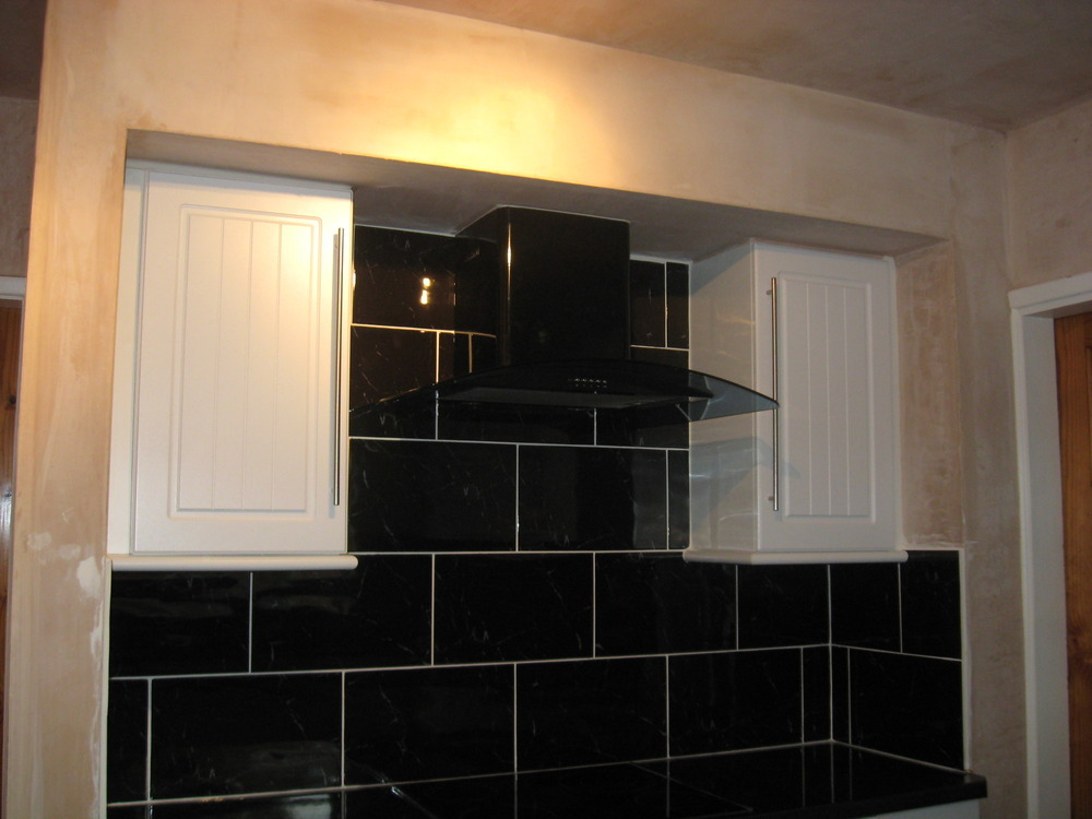 one part of kitchen supplied fitted including wall floor tiling