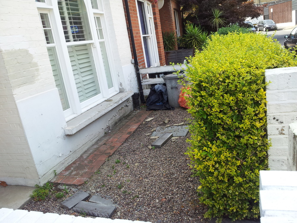 clear old front garden and lay new slate tiles - Landscape Gardening job in Fulham South London ...
