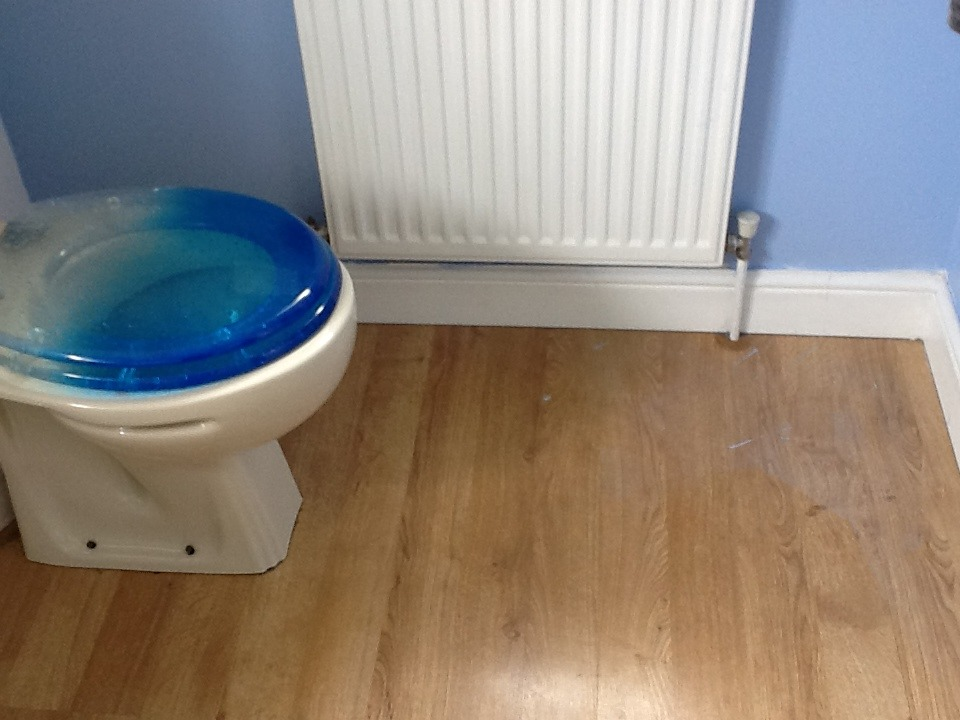 Vinyl Floor Fitted To Small Bathroom Flooring Job In