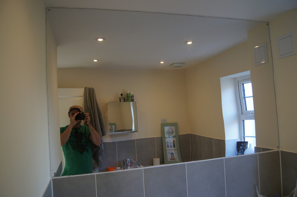 remove large mirror repair plaster tile around bath 14162
